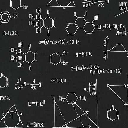 <!--5402-->Robert Kaufman - Science Fair 2 Equations on Black, per fat quar