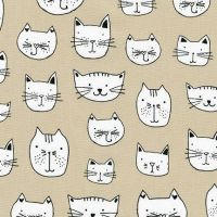 <!--5406-->Robert Kaufman - Whiskers & Tails - Cats Heads on Natural, per fat quarter