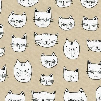 Robert Kaufman - Whiskers & Tails - Cats Heads on Natural, per fat quarter
