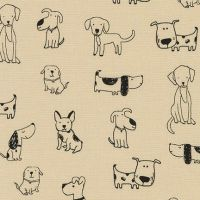 <!--5407-->Robert Kaufman - Whiskers &amp; Tails - Dogs on Natural, per fat quarter