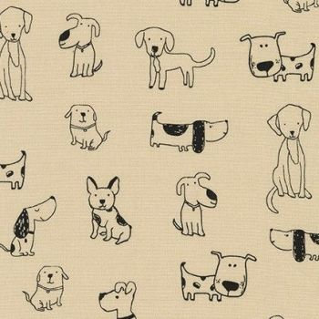 Robert Kaufman - Whiskers & Tails - Dogs on Natural, per fat quarter