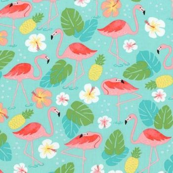 Robert Kaufman - Flamingo Paradise on Turquoise, per fat quarter