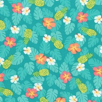 Robert Kaufman - Flamingo Paradise Leaves on Turquoise, per fat quarter
