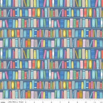 Riley Blake - Once Upon A Rhyme - Books in Blue, per fat quarter