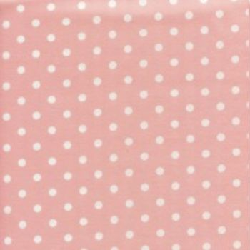 Sevenberry - 8mm Spot - White on Pink, per fat quarter