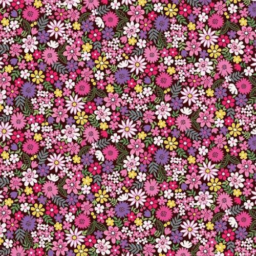 <!--3125-->Makower UK - Bloom - Packed Flowers in Pink, per fat quarter