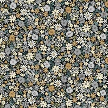 Makower UK - Bloom - Packed Flowers in Grey, per fat quarter