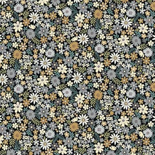 <!--3123a-->Makower UK - Bloom - Packed Flowers in Grey, per fat quarter