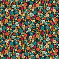 <!--3127-->Makower UK - Bloom - Packed Flowers in Turquoise, per fat quarter