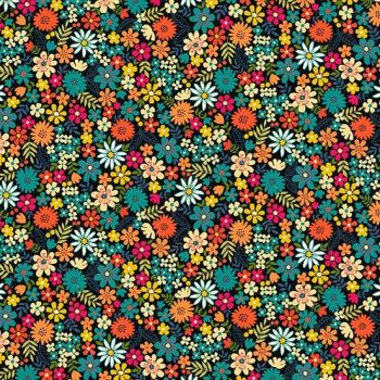 Makower UK - Bloom - Packed Flowers in Turquoise, per fat quarter