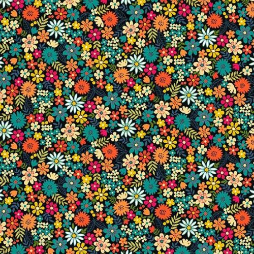 <!--3127-->Makower UK - Bloom - Packed Flowers in Turquoise, per fat quarte