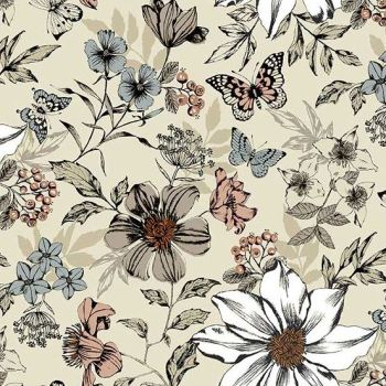 Makower UK - Dream - Exotic Flowers in Cream, per fat quarter