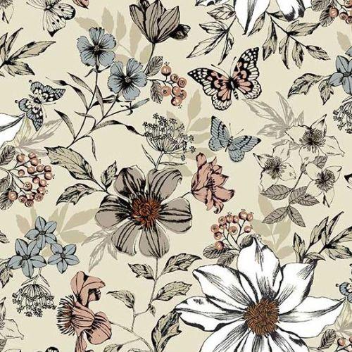 <!--3128-->Makower UK - Dream - Exotic Flowers in Cream, per fat quarter