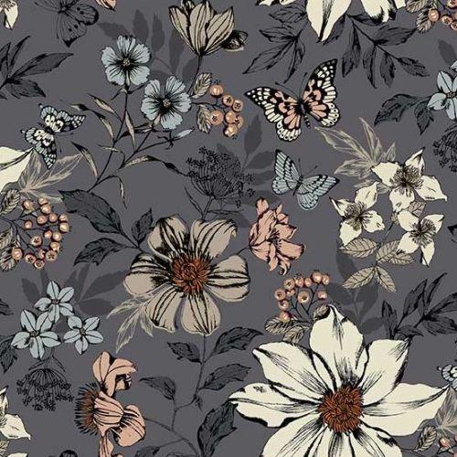 <!--3128-->Makower UK - Dream - Exotic Flowers in Grey, per fat quarter