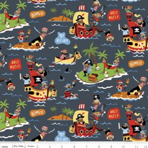 <!--5452-->Riley Blake - Pirates  - Scenic on Grey, per fat quarter