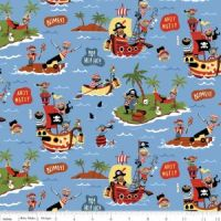<!--5453-->Riley Blake - Pirates  - Scenic on Blue, per fat quarter