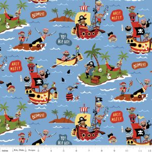 Riley Blake - Pirates  - Scenic on Blue, per fat quarter