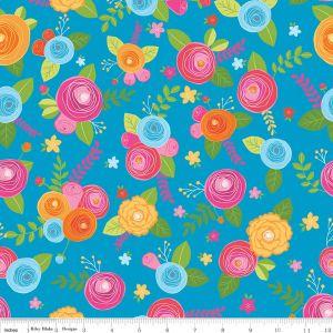 <!--5455-->Riley Blake - Simply Happy  - Main on Blue, per fat quarter