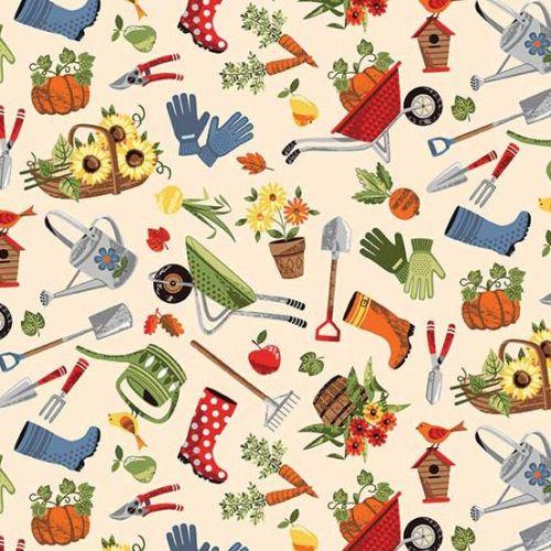 <!--3260-->Makower UK - The Good Life - Scatter on Cream, per fat quarter