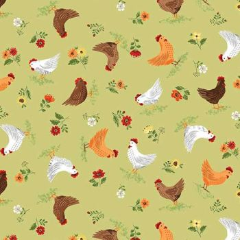 Makower UK - The Good Life - Hens, per fat quarter