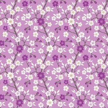 Makower UK - Kimono - Blossom Tree in Lilac (with gold metallic detailing), per fat quarter