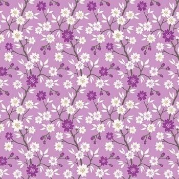 Makower UK - Kimono - Blossom Tree in Lilac (with gold metallic detailing), per fat quarter