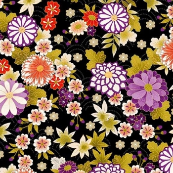 Makower UK - Kimono - Chrysanthemum in Black (with gold metallic detailing), per fat quarter