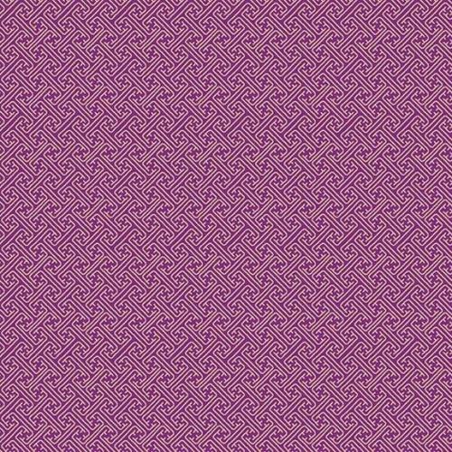<!--3266-->Makower UK - Kimono - Lattice in Lilac (with gold metallic detai