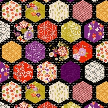 Makower UK - Kimono - Hexagon Patch in Black (with gold metallic detailing), per fat quarter