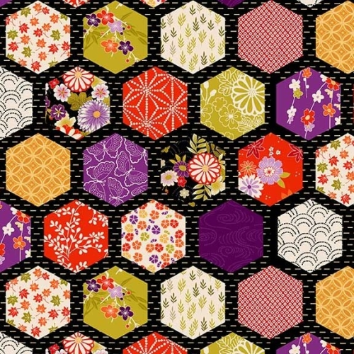 <!--3267-->Makower UK - Kimono - Hexagon Patch in Black (with gold metallic