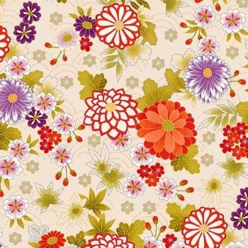 Makower UK - Kimono - Chrysanthemum in Cream (with gold metallic detailing), per fat quarter