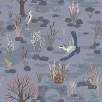 Lewis & Irene - Water Meadow - Down By The River in Dusky Blue, per fat quarter