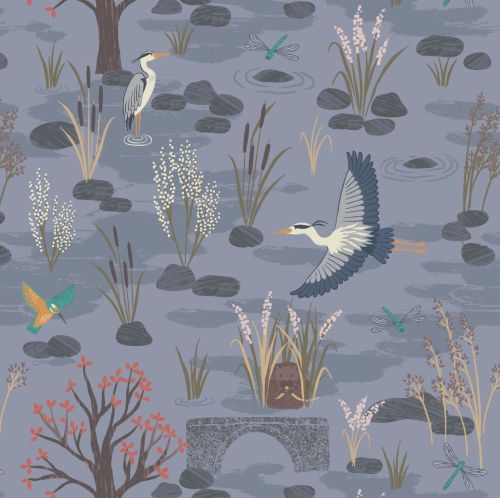 <!--4246-->Lewis & Irene - Water Meadow - Down By The River in Dusky Blue,