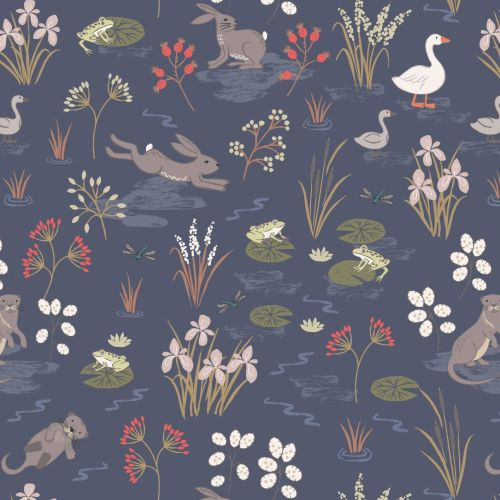 <!--4247-->Lewis & Irene - Water Meadow in Navy, per fat quarter