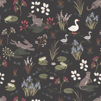 Lewis & Irene - Water Meadow in Black, per fat quarter