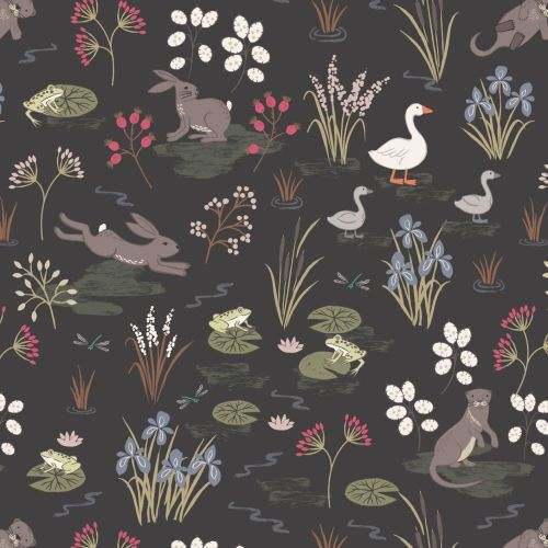 <!--4248-->Lewis & Irene - Water Meadow in Black, per fat quarter