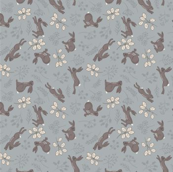 Lewis & Irene - Water Meadow - Hares in Grey, per fat quarter