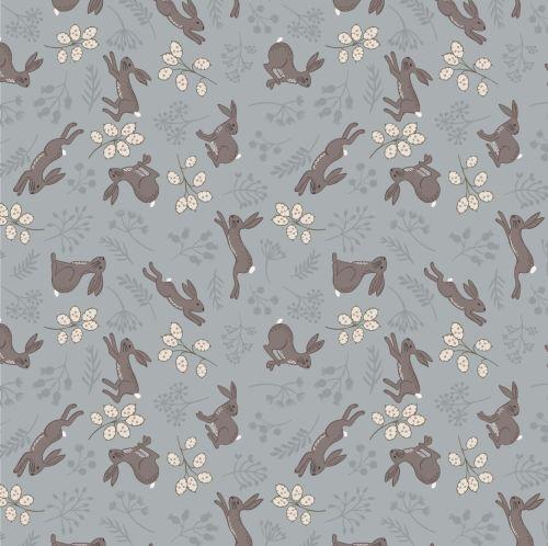 <!--4249-->Lewis & Irene - Water Meadow - Hares in Grey, per fat quarter