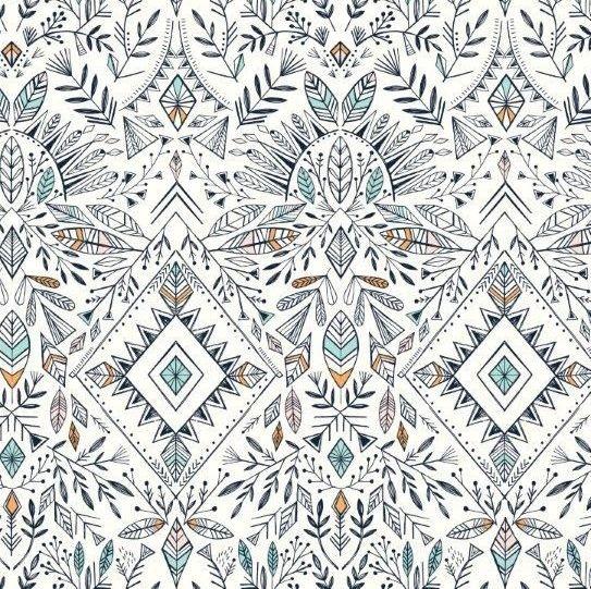 <!--5021-->Dashwood Studios - Boho Aztec on White, per fat quarter