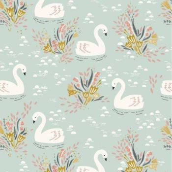 Dashwood Studios - Dovestone - Swans on Pale Blue, per fat quarter