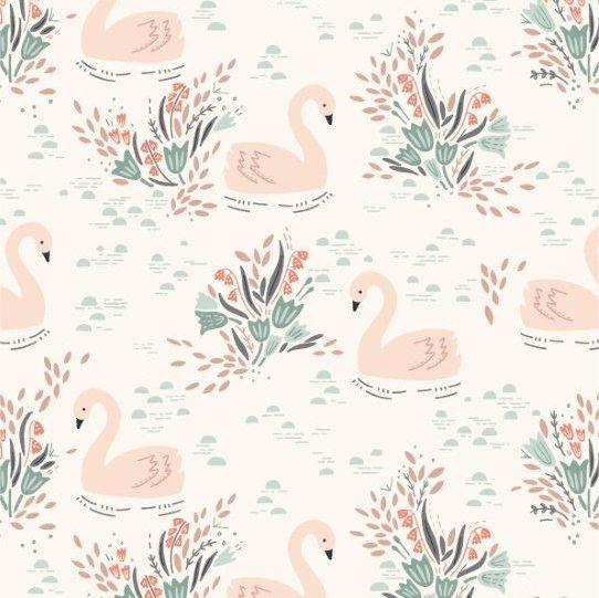<!--5025-->Dashwood Studios - Dovestone - Swans on White, per fat quarter