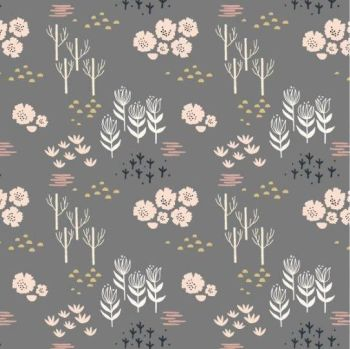 Dashwood Studios - Dovestone - Floral on Grey, per fat quarter