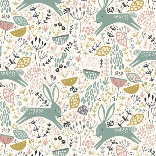 <!--5028-->Dashwood Studios - Dovestone - Rabbits on Cream, per fat quarter