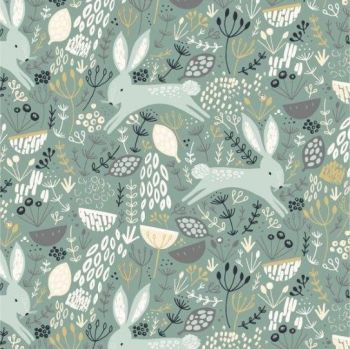 Dashwood Studios - Dovestone - Rabbits on Dark Duck Egg, per fat quarter