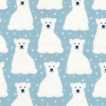Robert Kaufman - Arctic FLANNEL - Polar Bears on Powder Blue, per fat quarter