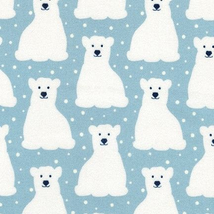 <!--5461-->Robert Kaufman - Arctic FLANNEL - Polar Bears on Powder Blue, pe