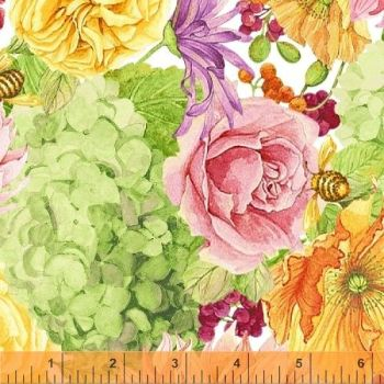 Windham Fabrics - Cottage Joy in Green, per fat quarter