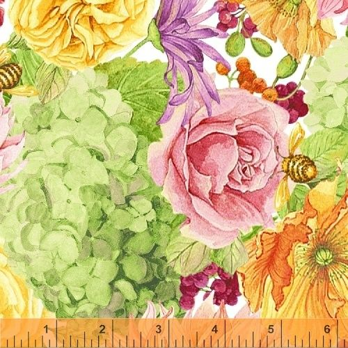 <!--5513-->Windham Fabrics - Cottage Joy in Green, per fat quarter