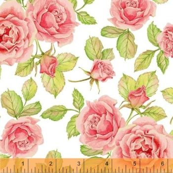 Windham Fabrics - Cottage Joy - Roses in Pink, per fat quarter