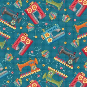 Henry Glass - One Stitch At A Time - Sewing Machines on Teal, per fat quarter